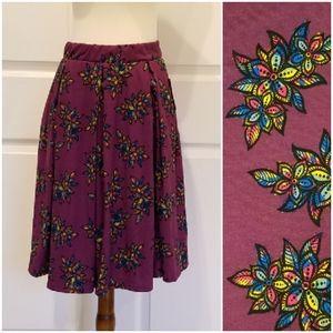 Lularoe Madison Burgundy Rainbow Floral Skirt